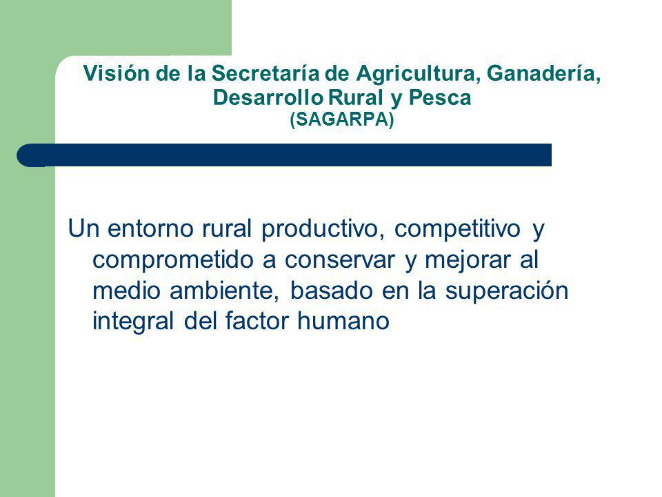 Visión de la Secretaría de Agricultura, Ganadería, Desarrollo Rural y Pesca (SAGARPA)