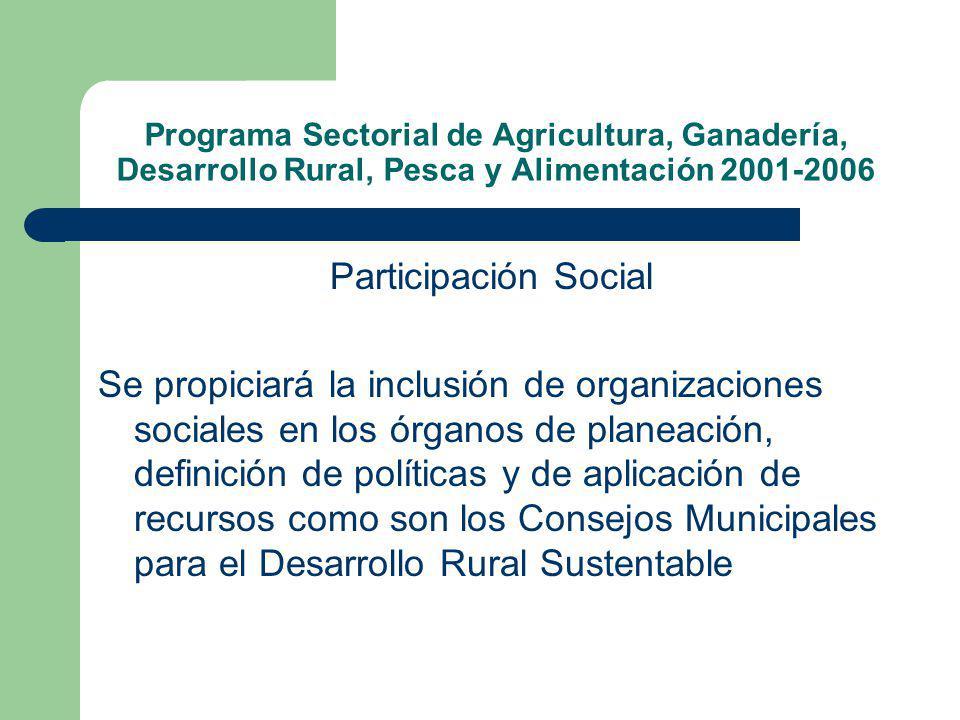 Programa Sectorial de Agricultura, Ganadería, Desarrollo Rural, Pesca y Alimentación 2001-2006