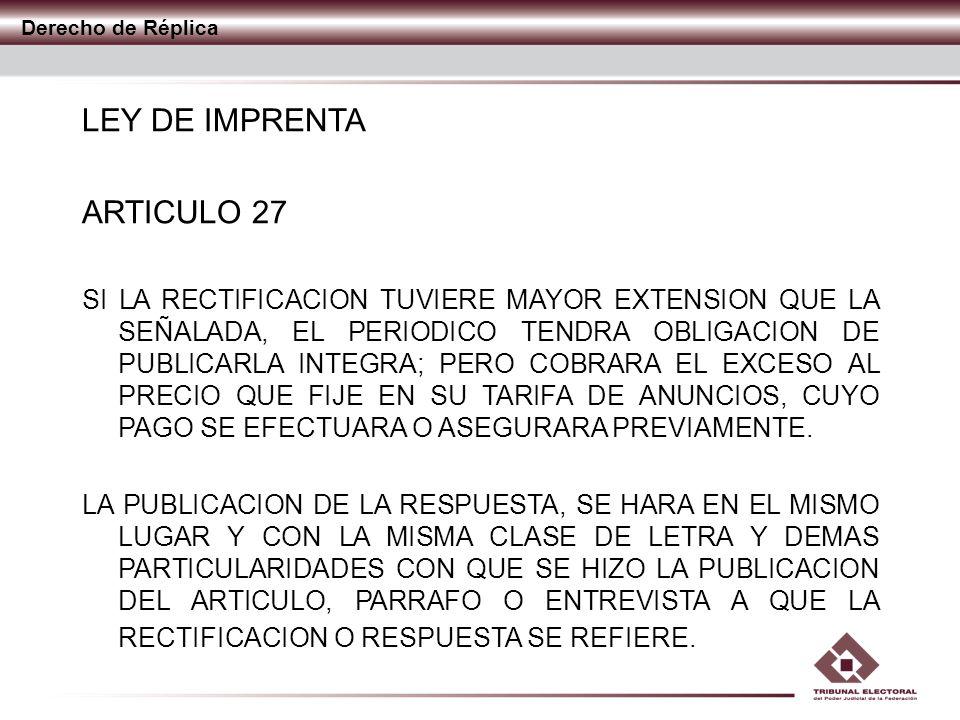 LEY DE IMPRENTA ARTICULO 27