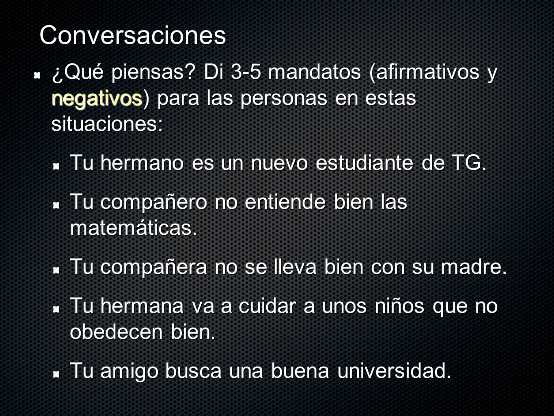 Conversaciones ¿Qué piensas Di 3-5 mandatos (afirmativos y negativos) para las personas en estas situaciones: