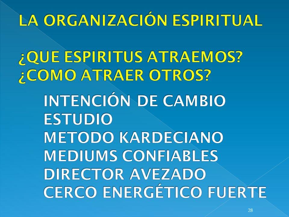 LA ORGANIZACIÓN ESPIRITUAL ¿QUE ESPIRITUS ATRAEMOS ¿COMO ATRAER OTROS
