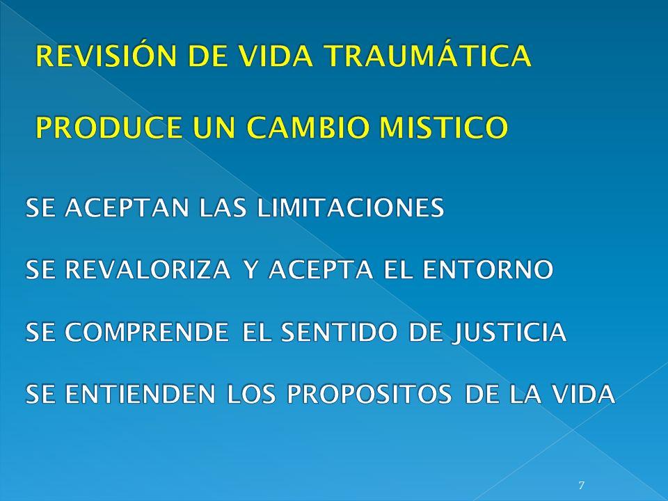REVISIÓN DE VIDA TRAUMÁTICA PRODUCE UN CAMBIO MISTICO