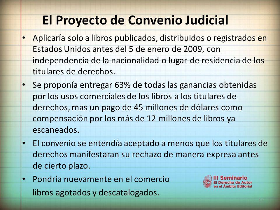 El Proyecto de Convenio Judicial