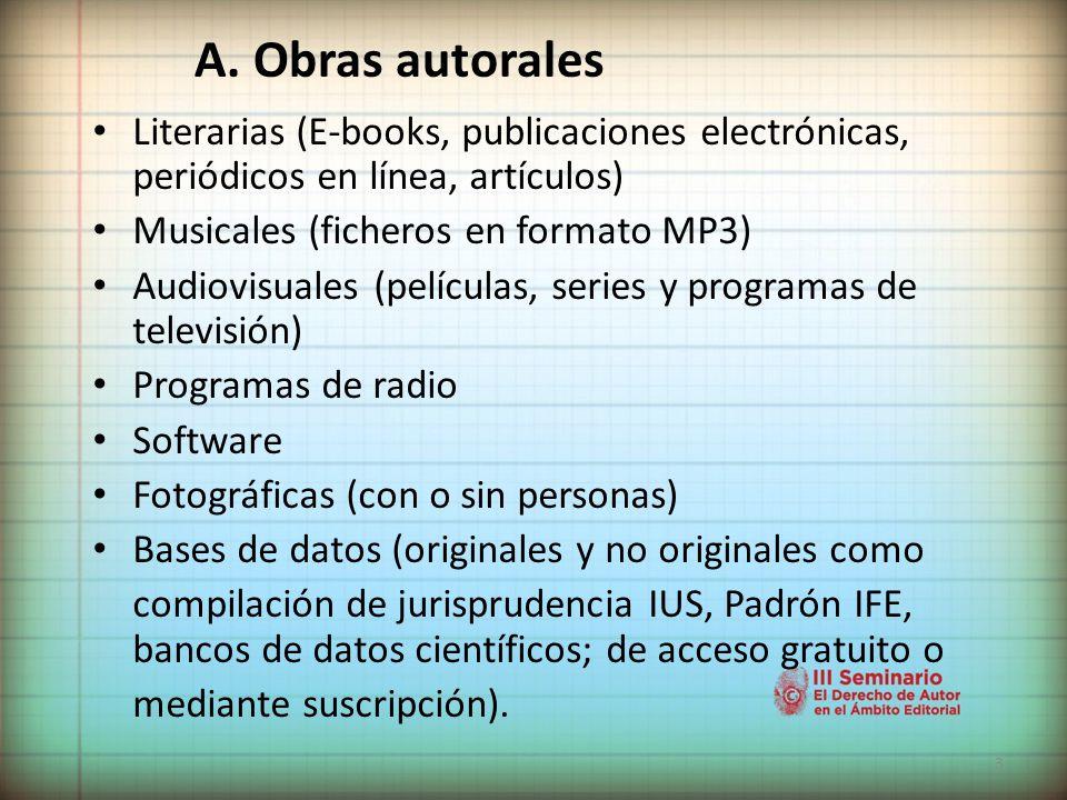 A. Obras autorales Literarias (E-books, publicaciones electrónicas, periódicos en línea, artículos)