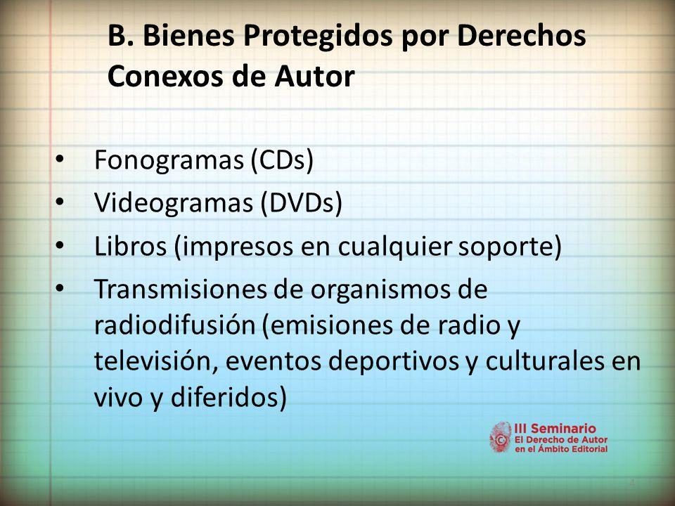 B. Bienes Protegidos por Derechos Conexos de Autor