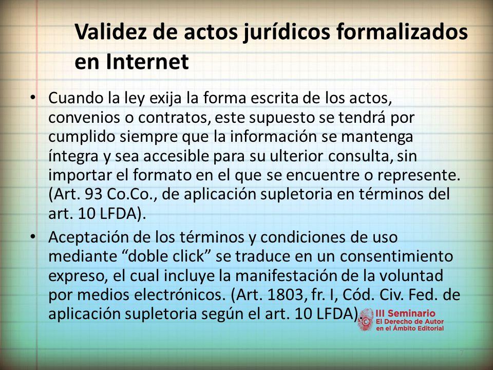 Validez de actos jurídicos formalizados en Internet