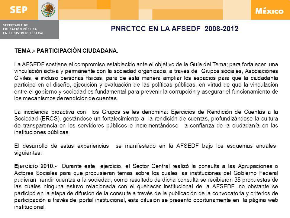 PNRCTCC EN LA AFSEDF 2008-2012 TEMA .- PARTICIPACIÓN CIUDADANA.