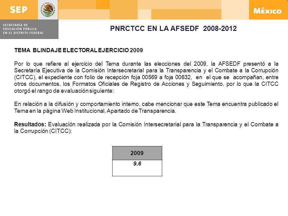 PNRCTCC EN LA AFSEDF 2008-2012 TEMA BLINDAJE ELECTORAL EJERCICIO 2009