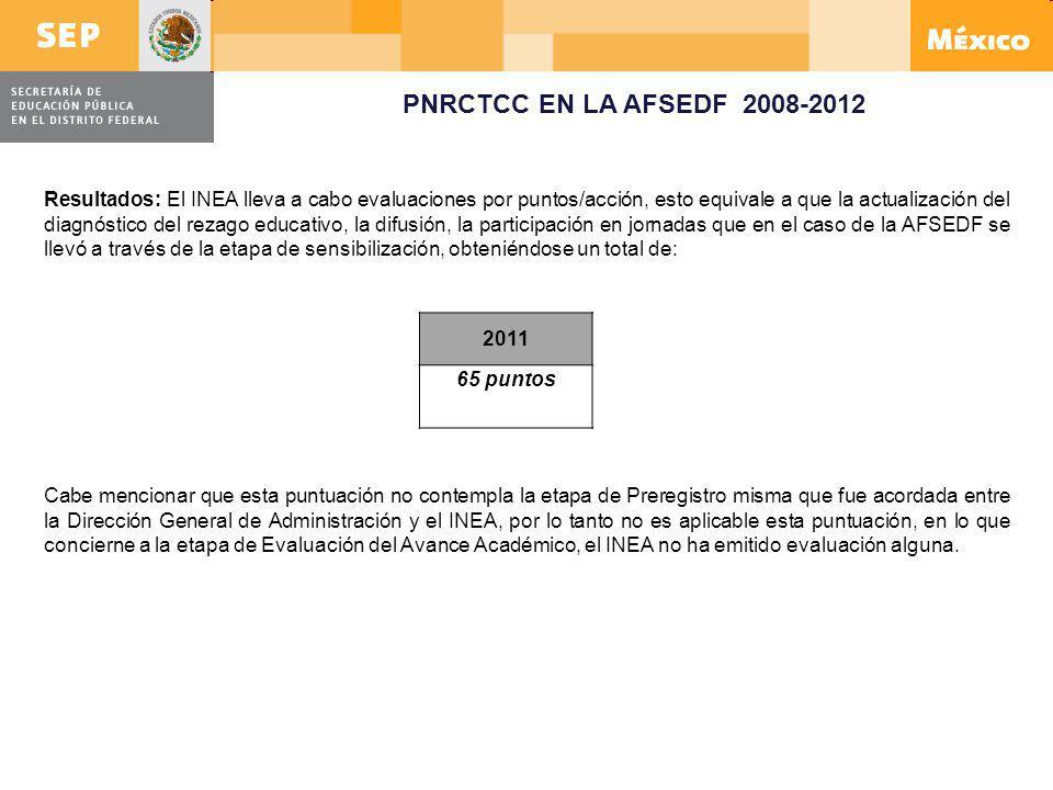 PNRCTCC EN LA AFSEDF 2008-2012 2011 65 puntos