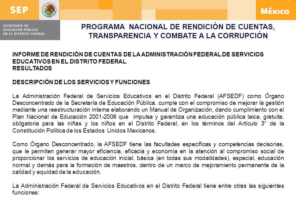 PROGRAMA NACIONAL DE RENDICIÓN DE CUENTAS, TRANSPARENCIA Y COMBATE A LA CORRUPCIÓN
