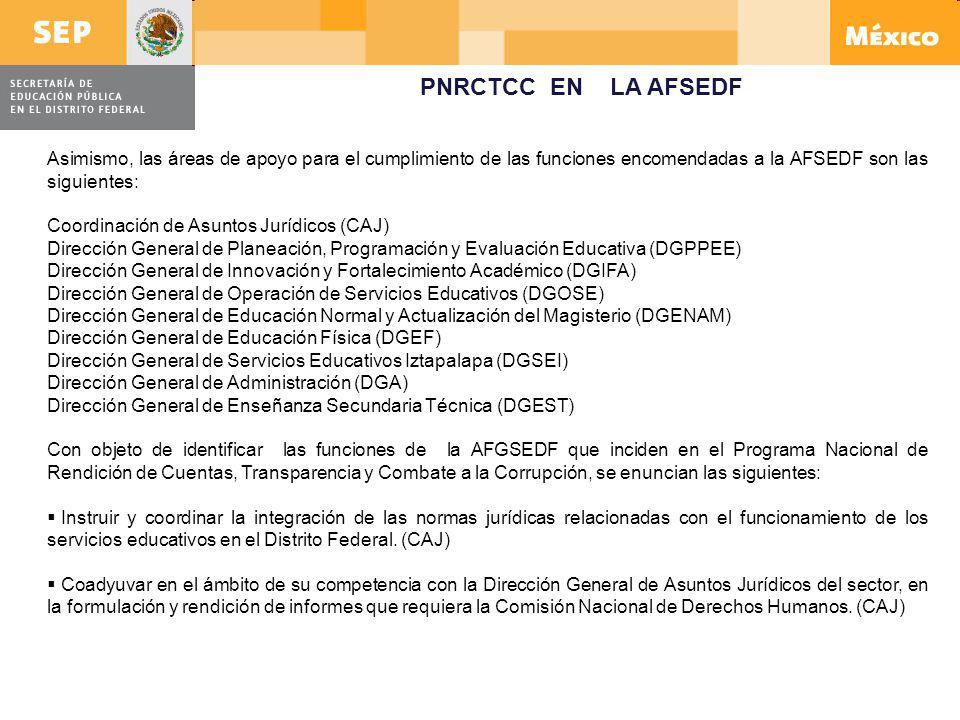 PNRCTCC EN LA AFSEDF Asimismo, las áreas de apoyo para el cumplimiento de las funciones encomendadas a la AFSEDF son las siguientes:
