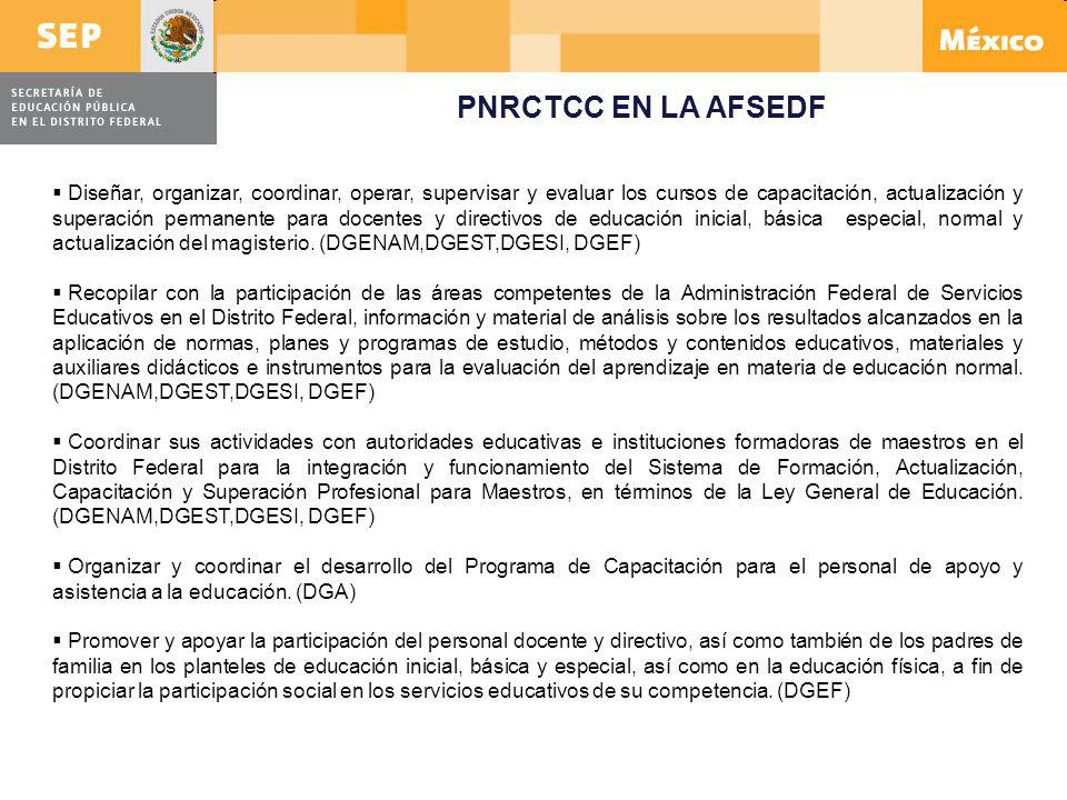 PNRCTCC EN LA AFSEDF