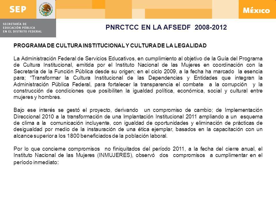 PNRCTCC EN LA AFSEDF 2008-2012 PROGRAMA DE CULTURA INSTITUCIONAL Y CULTURA DE LA LEGALIDAD.