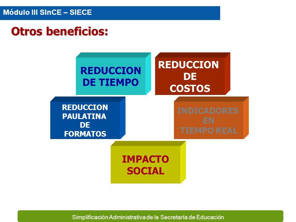 Otros beneficios: REDUCCION REDUCCION DE DE TIEMPO COSTOS IMPACTO