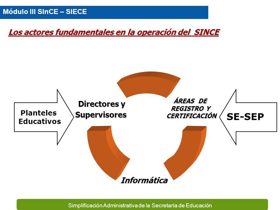 SE-SEP Los actores fundamentales en la operación del SINCE