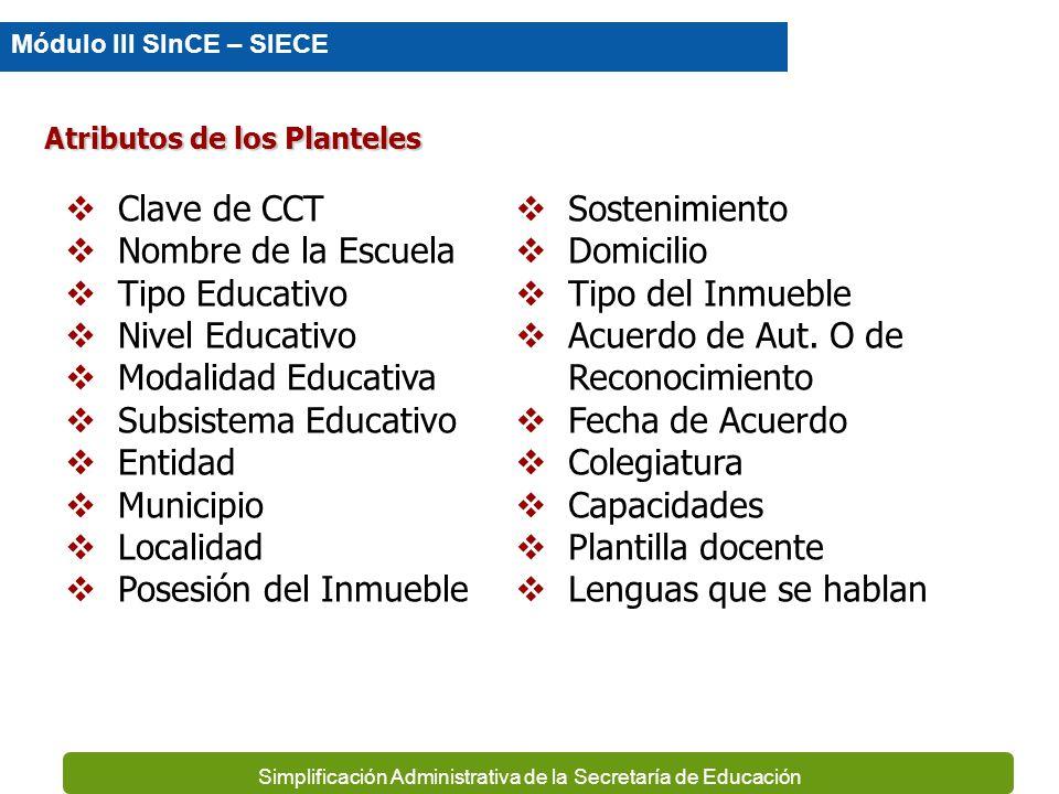Atributos de los Planteles