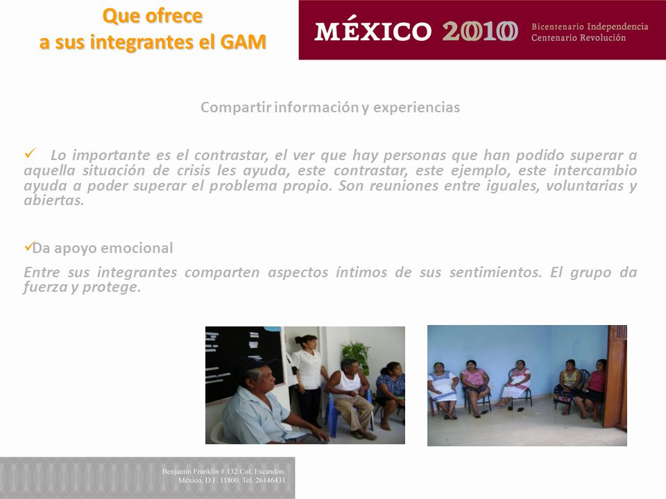 a sus integrantes el GAM Compartir información y experiencias
