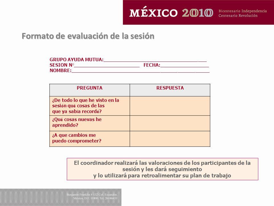 Formato de evaluación de la sesión