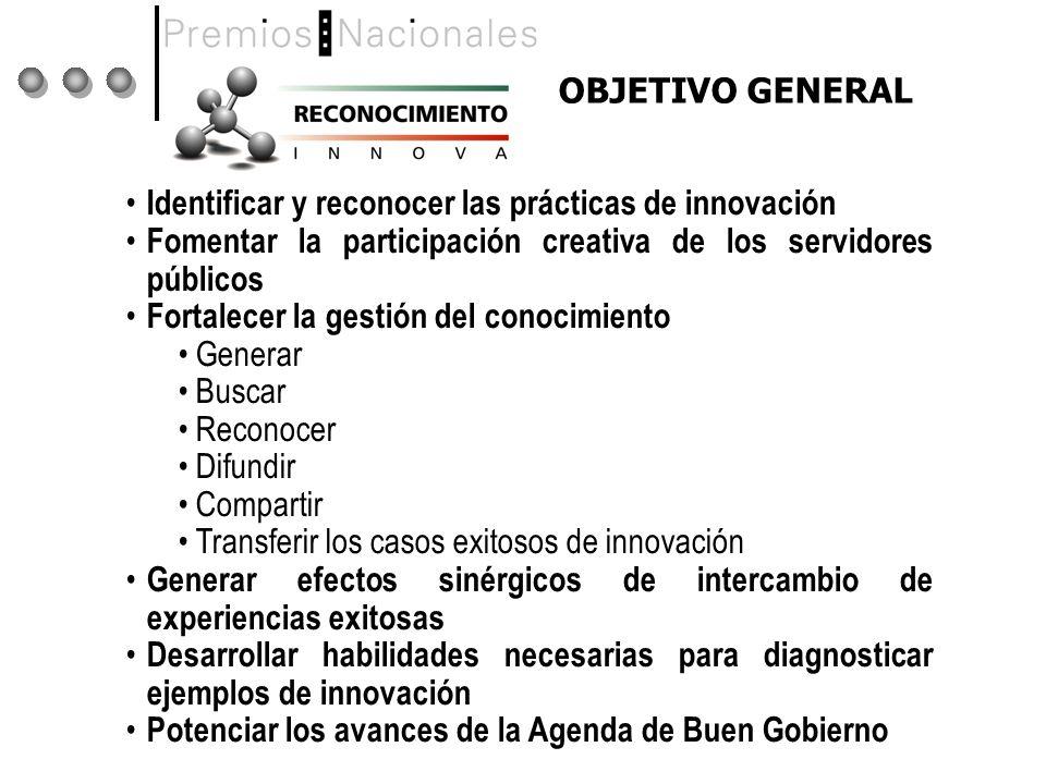 OBJETIVO GENERAL Identificar y reconocer las prácticas de innovación. Fomentar la participación creativa de los servidores públicos.