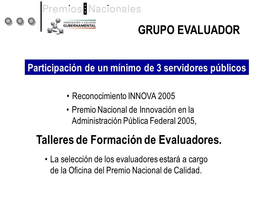 GRUPO EVALUADOR Talleres de Formación de Evaluadores.