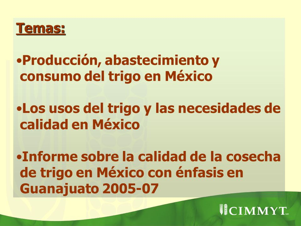 Temas: Producción, abastecimiento y consumo del trigo en México. Los usos del trigo y las necesidades de calidad en México.
