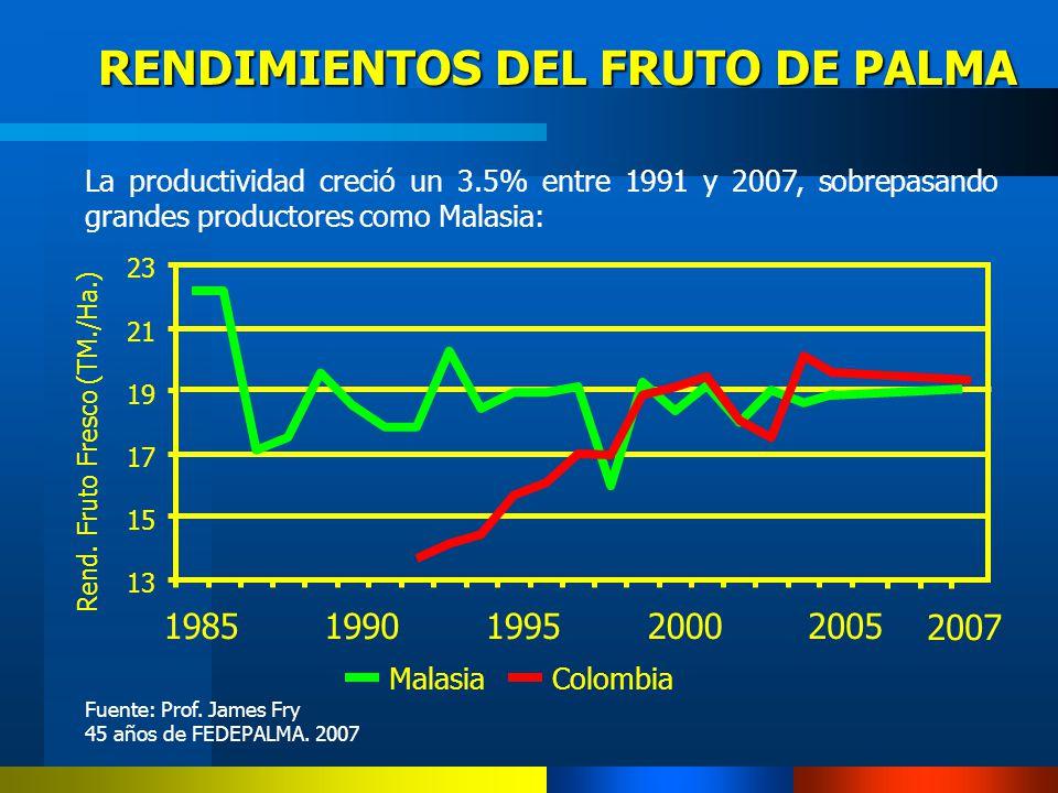 RENDIMIENTOS DEL FRUTO DE PALMA