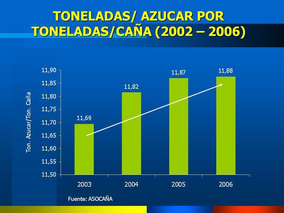 TONELADAS/ AZUCAR POR TONELADAS/CAÑA (2002 – 2006)