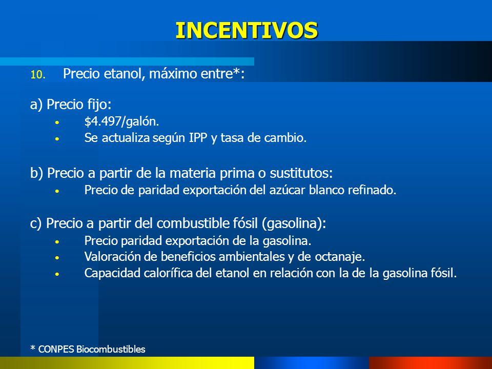 INCENTIVOS Precio etanol, máximo entre*: a) Precio fijo: