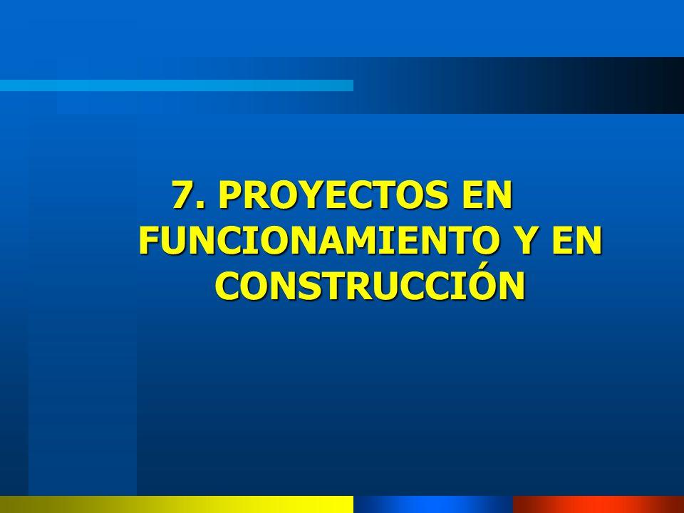 7. PROYECTOS EN FUNCIONAMIENTO Y EN CONSTRUCCIÓN