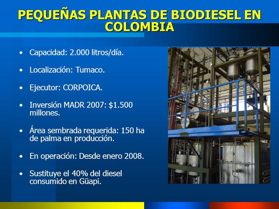 PEQUEÑAS PLANTAS DE BIODIESEL EN COLOMBIA