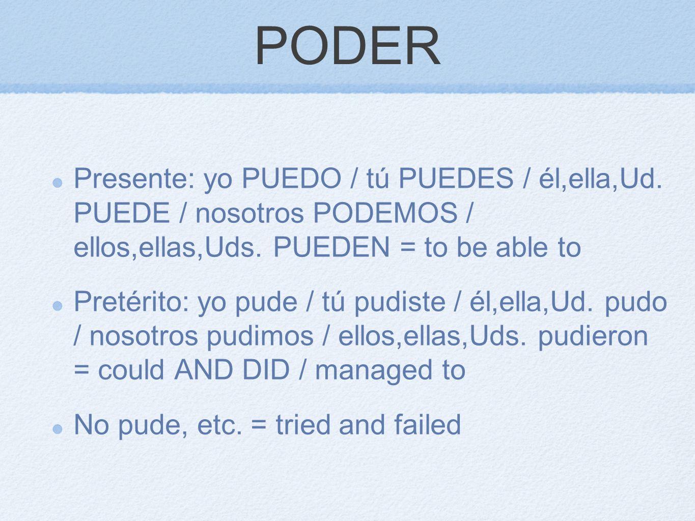 PODER Presente: yo PUEDO / tú PUEDES / él,ella,Ud. PUEDE / nosotros PODEMOS / ellos,ellas,Uds. PUEDEN = to be able to.