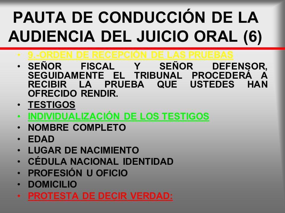 PAUTA DE CONDUCCIÓN DE LA AUDIENCIA DEL JUICIO ORAL (6)