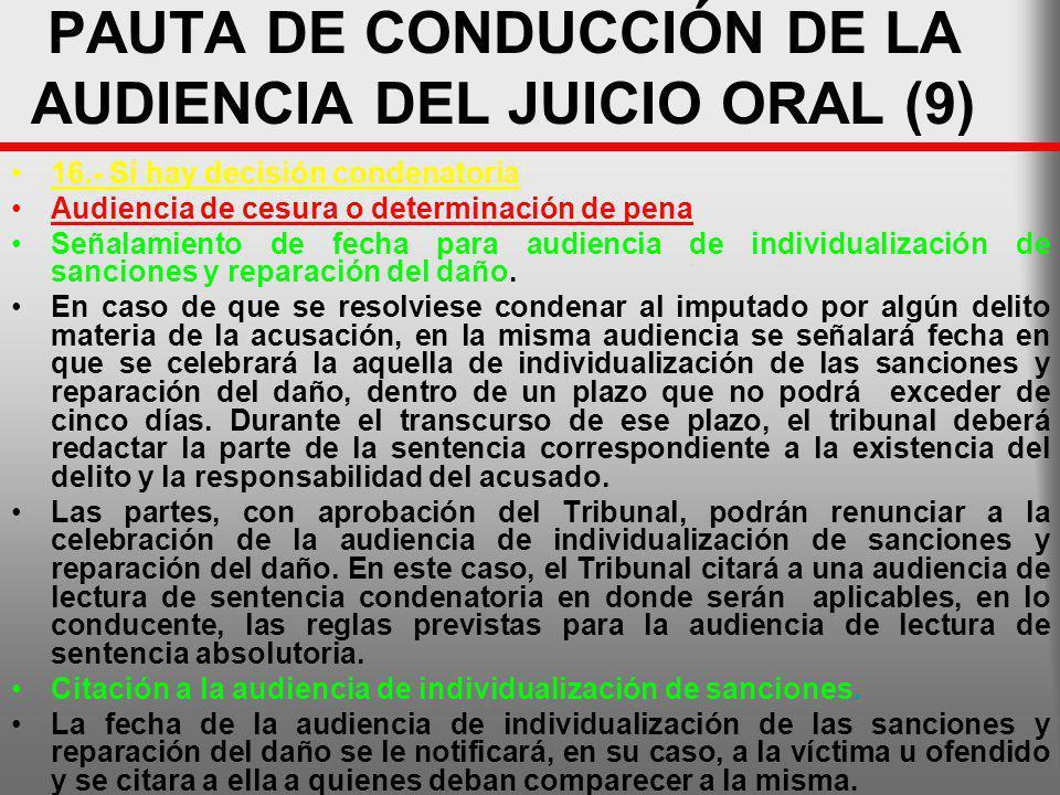 PAUTA DE CONDUCCIÓN DE LA AUDIENCIA DEL JUICIO ORAL (9)