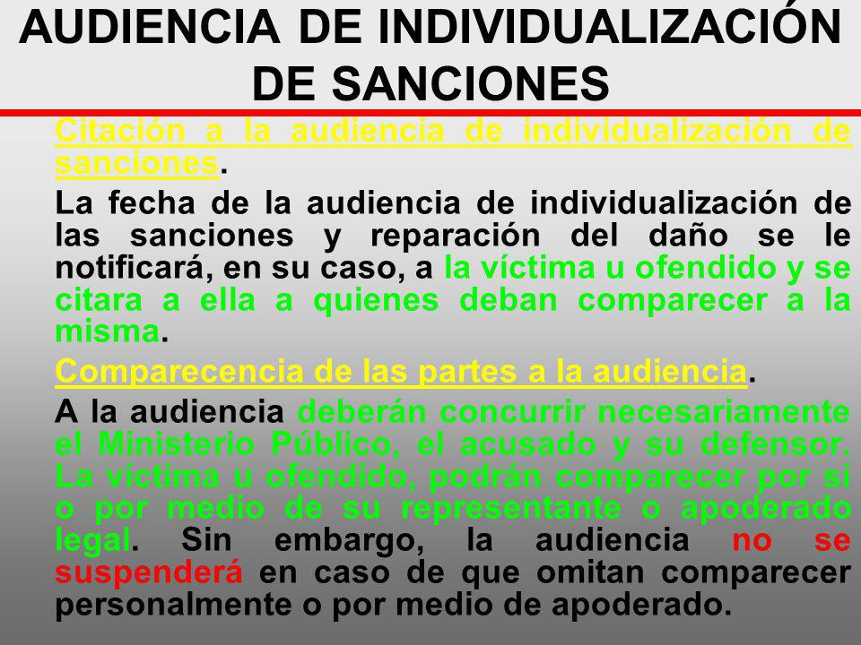 AUDIENCIA DE INDIVIDUALIZACIÓN DE SANCIONES