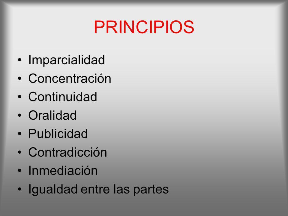 PRINCIPIOS Imparcialidad Concentración Continuidad Oralidad Publicidad