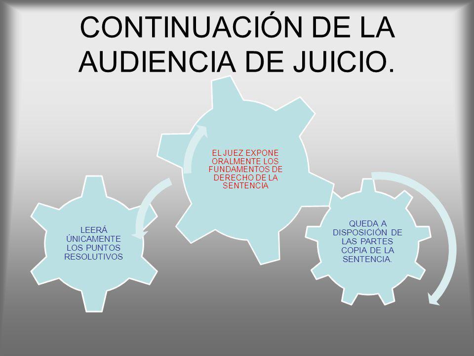 CONTINUACIÓN DE LA AUDIENCIA DE JUICIO.