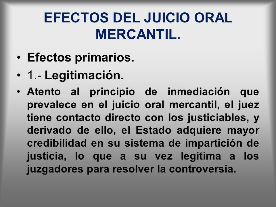 EFECTOS DEL JUICIO ORAL MERCANTIL.