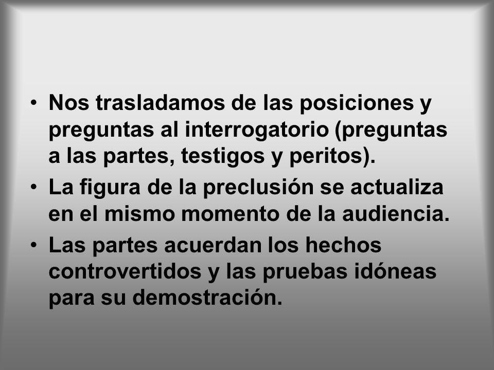 Nos trasladamos de las posiciones y preguntas al interrogatorio (preguntas a las partes, testigos y peritos).