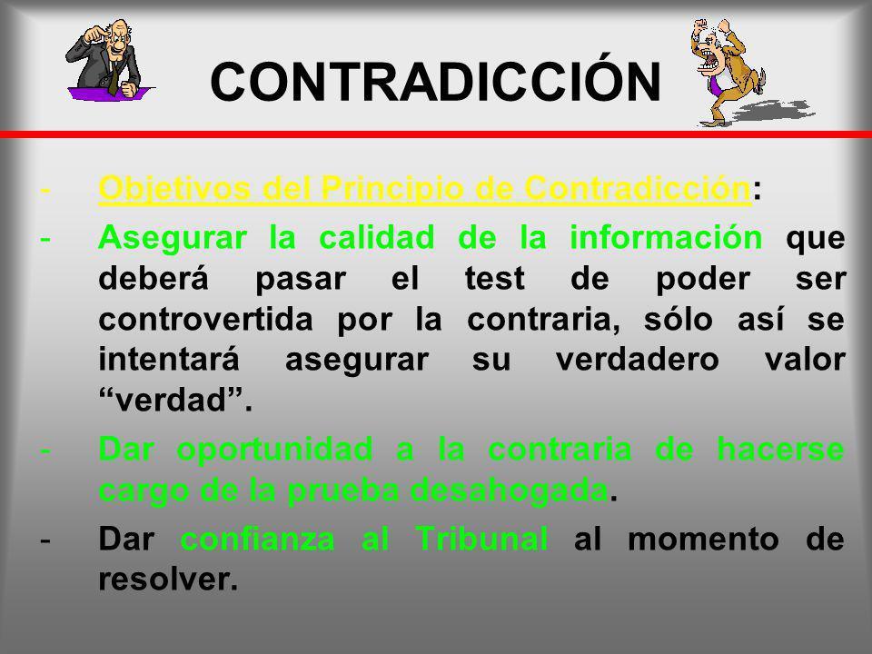 CONTRADICCIÓN Objetivos del Principio de Contradicción:
