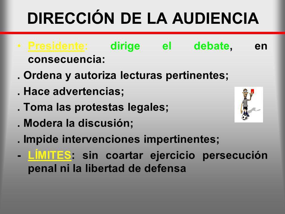 DIRECCIÓN DE LA AUDIENCIA