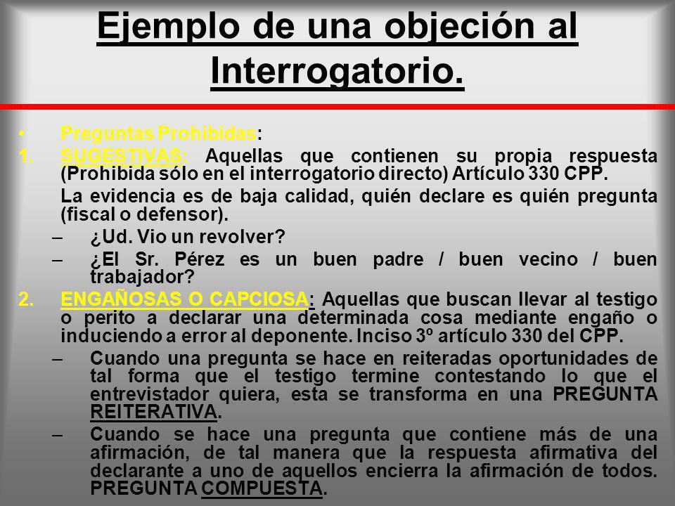 Ejemplo de una objeción al Interrogatorio.