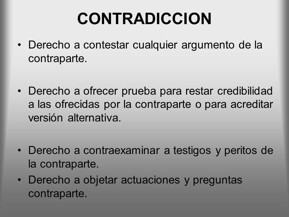 CONTRADICCION Derecho a contestar cualquier argumento de la contraparte.