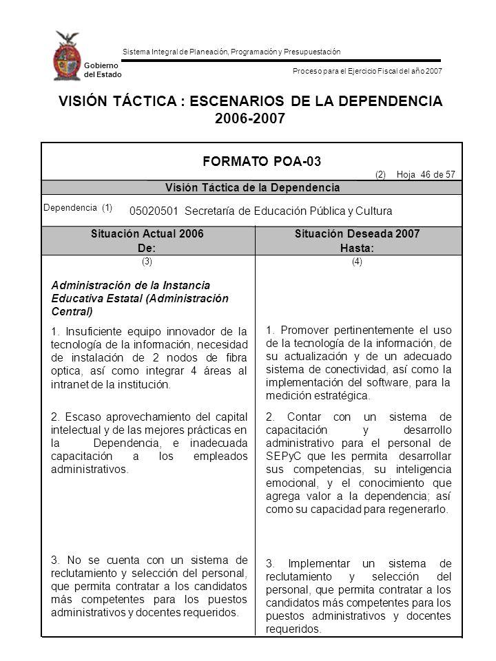 VISIÓN TÁCTICA : ESCENARIOS DE LA DEPENDENCIA 2006-2007