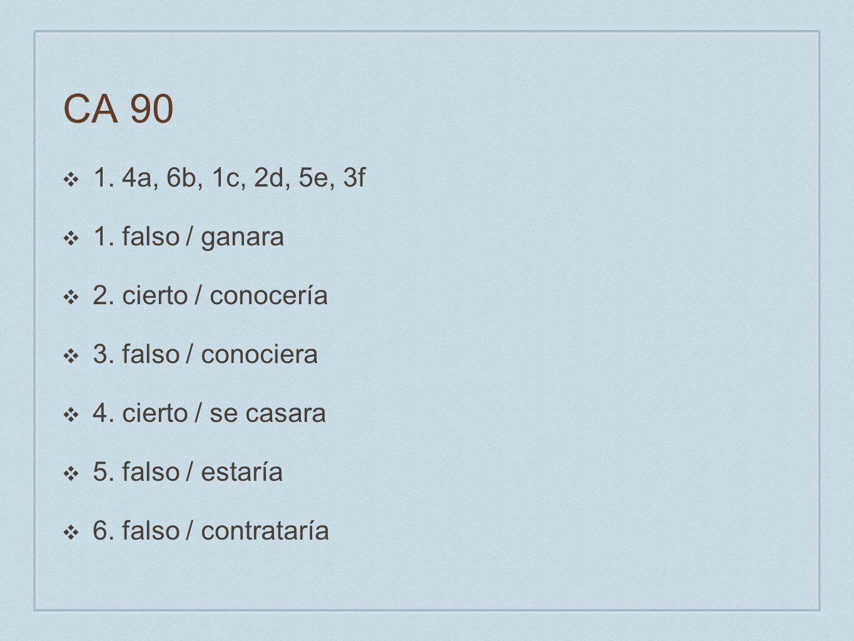 CA 90 1. 4a, 6b, 1c, 2d, 5e, 3f 1. falso / ganara