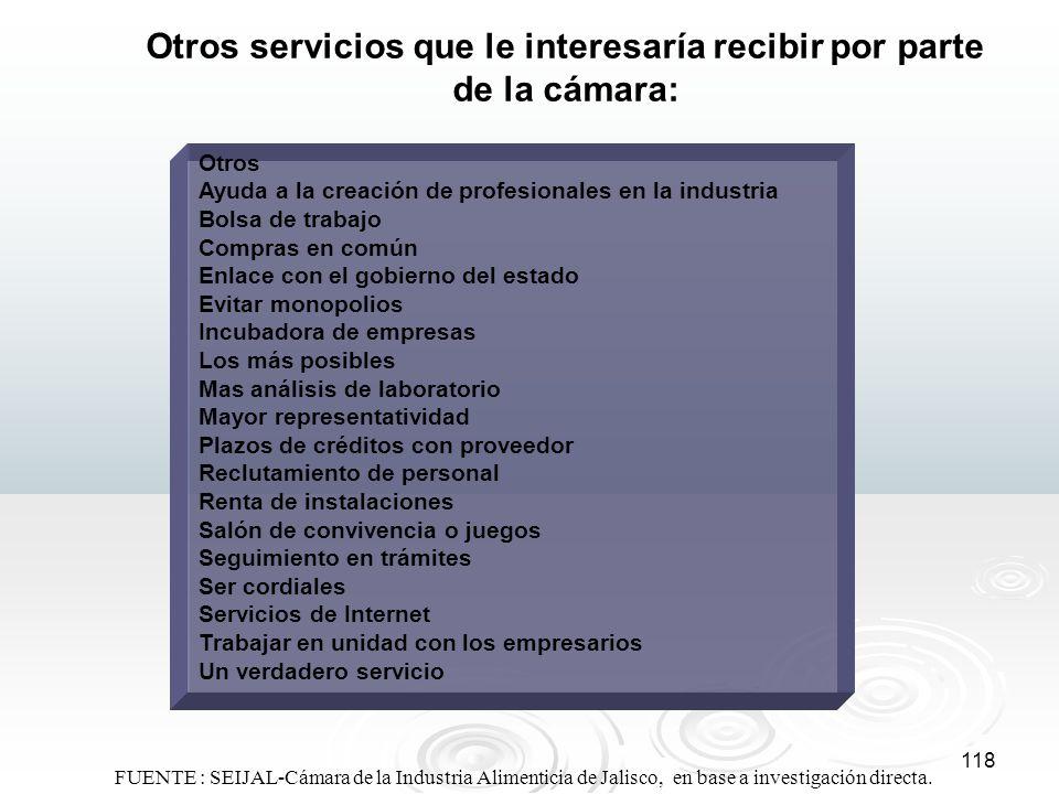 Otros servicios que le interesaría recibir por parte de la cámara: