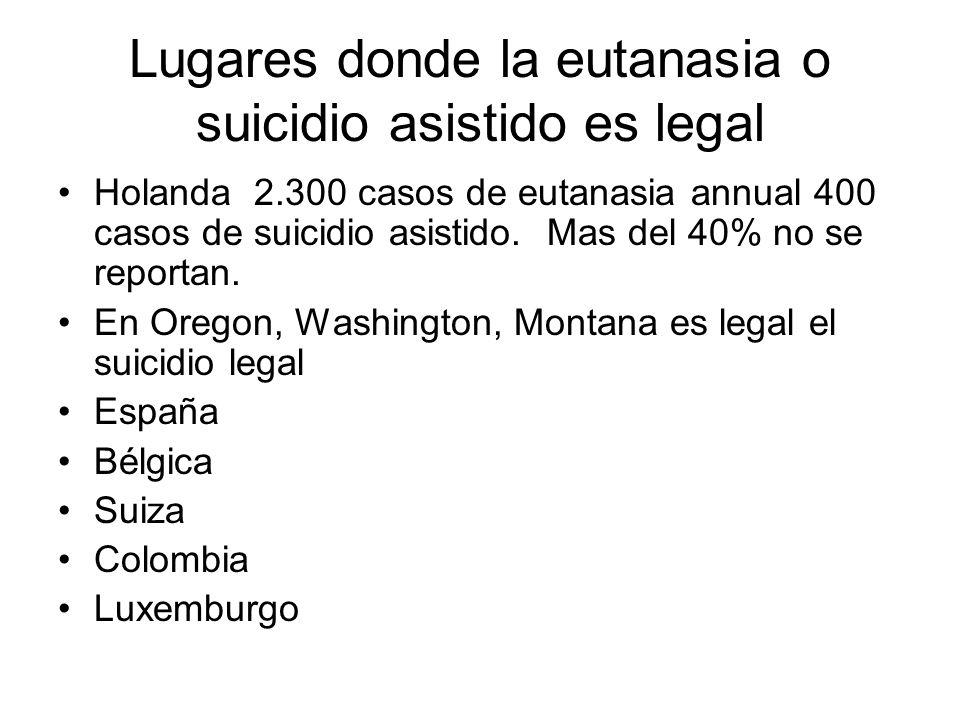 Lugares donde la eutanasia o suicidio asistido es legal
