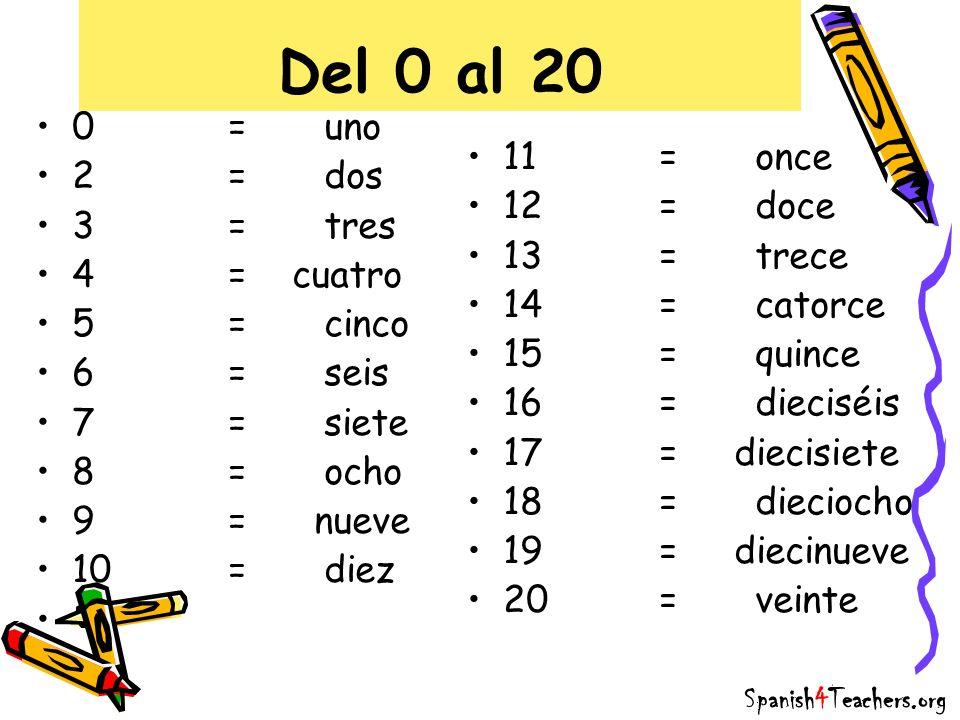 Del 0 al 20 0 = uno 2 = dos 11 = once 3 = tres 12 = doce 4 = cuatro