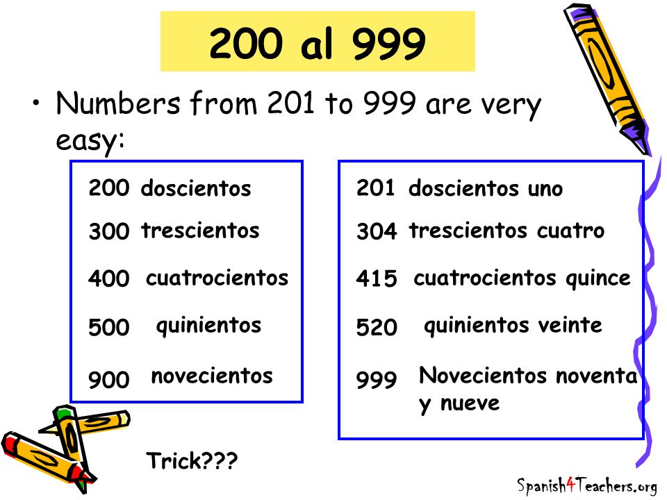 200 al 999 Numbers from 201 to 999 are very easy: 200 doscientos 201