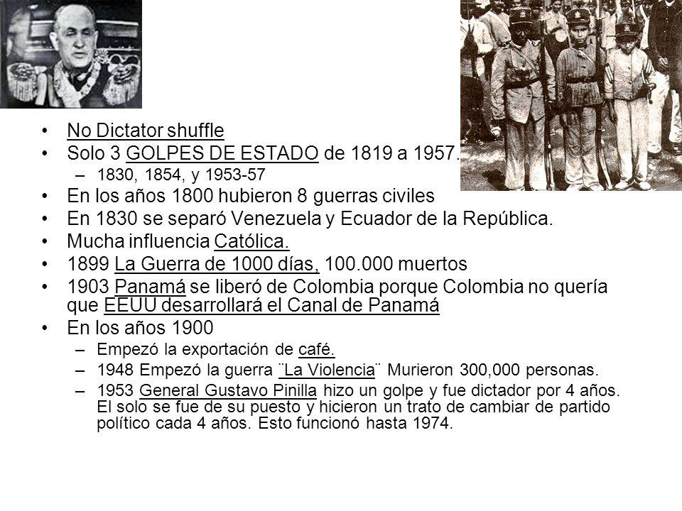 Solo 3 GOLPES DE ESTADO de 1819 a 1957.