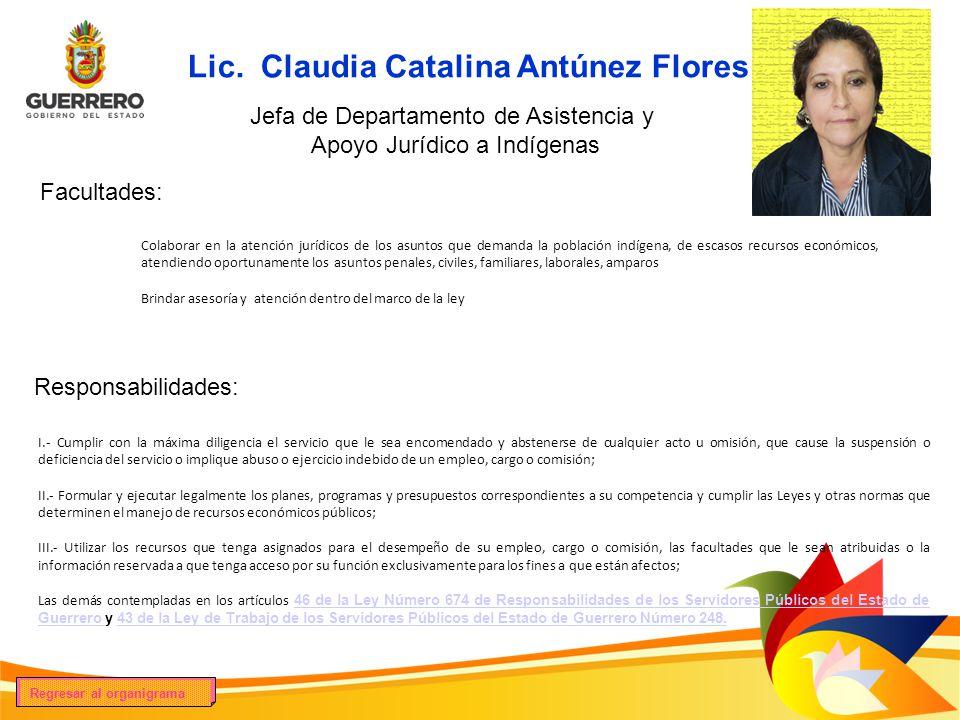 Lic. Claudia Catalina Antúnez Flores